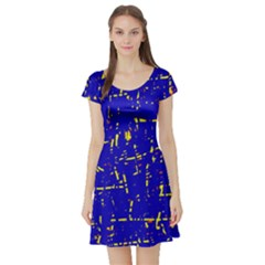 Blue pattern Short Sleeve Skater Dress