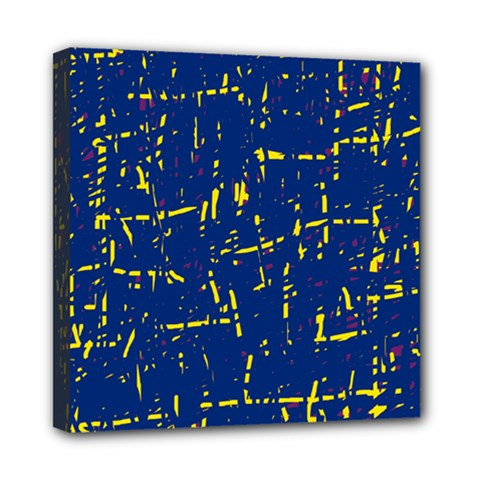 Deep blue and yellow pattern Mini Canvas 8  x 8