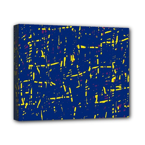 Deep blue and yellow pattern Canvas 10  x 8