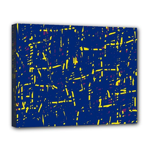 Deep blue and yellow pattern Canvas 14  x 11