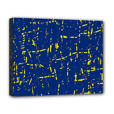 Deep blue and yellow pattern Deluxe Canvas 20  x 16