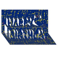 Deep blue and yellow pattern Happy Birthday 3D Greeting Card (8x4)