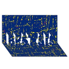 Deep blue and yellow pattern BEST SIS 3D Greeting Card (8x4)