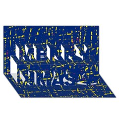 Deep blue and yellow pattern Merry Xmas 3D Greeting Card (8x4)