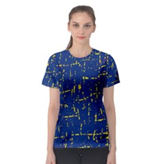 Deep blue and yellow pattern Women s Sport Mesh Tee
