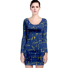 Deep blue and yellow pattern Long Sleeve Bodycon Dress