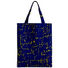 Deep blue and yellow pattern Zipper Classic Tote Bag