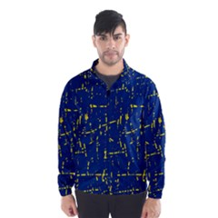 Deep blue and yellow pattern Wind Breaker (Men)