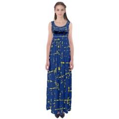 Deep blue and yellow pattern Empire Waist Maxi Dress
