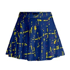 Deep Blue And Yellow Pattern Mini Flare Skirt