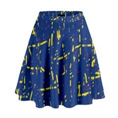 Deep Blue And Yellow Pattern High Waist Skirt