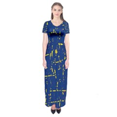 Deep Blue And Yellow Pattern Short Sleeve Maxi Dress