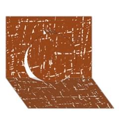 Brown elelgant pattern Circle 3D Greeting Card (7x5)