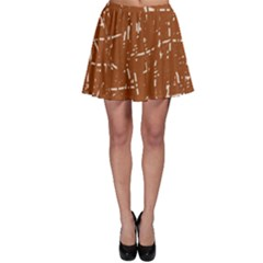 Brown elelgant pattern Skater Skirt