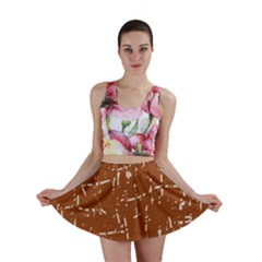 Brown elelgant pattern Mini Skirt