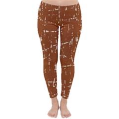 Brown elelgant pattern Winter Leggings