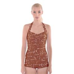 Brown Elelgant Pattern Boyleg Halter Swimsuit