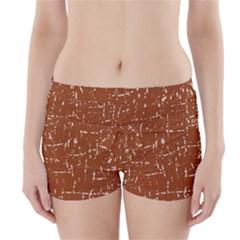 Brown elelgant pattern Boyleg Bikini Wrap Bottoms