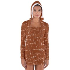 Brown Elelgant Pattern Women s Long Sleeve Hooded T Shirt