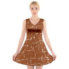 Brown elelgant pattern V-Neck Sleeveless Skater Dress