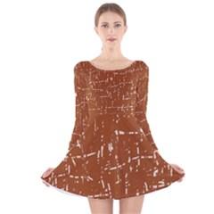 Brown elelgant pattern Long Sleeve Velvet Skater Dress