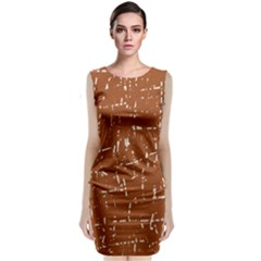 Brown elelgant pattern Classic Sleeveless Midi Dress