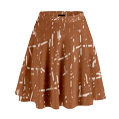 Brown Elelgant Pattern High Waist Skirt