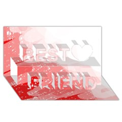 Red pattern Best Friends 3D Greeting Card (8x4)