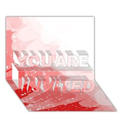 Red pattern YOU ARE INVITED 3D Greeting Card (7x5)