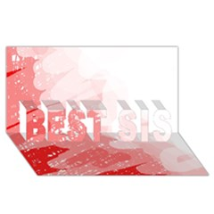 Red pattern BEST SIS 3D Greeting Card (8x4)