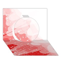 Red pattern Circle 3D Greeting Card (7x5)