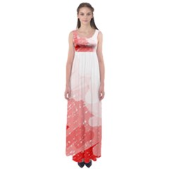 Red Pattern Empire Waist Maxi Dress