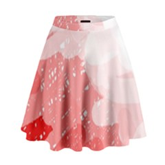 Red pattern High Waist Skirt
