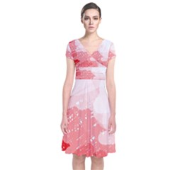 Red pattern Short Sleeve Front Wrap Dress