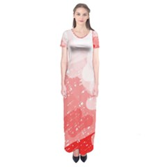 Red Pattern Short Sleeve Maxi Dress