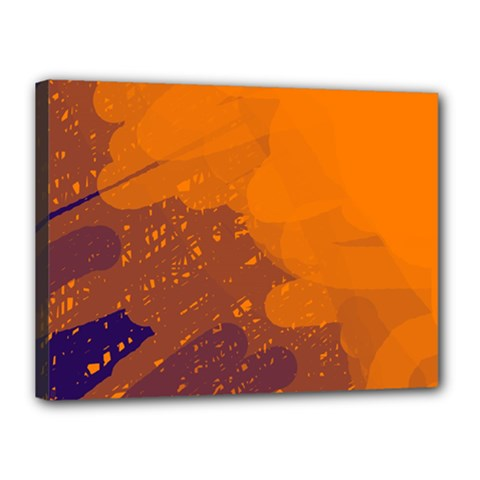 Orange and blue artistic pattern Canvas 16  x 12