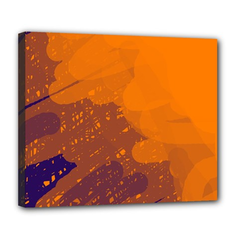 Orange and blue artistic pattern Deluxe Canvas 24  x 20
