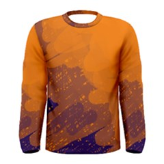 Orange and blue artistic pattern Men s Long Sleeve Tee