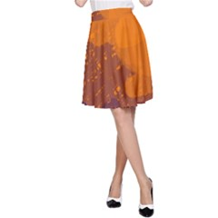 Orange and blue artistic pattern A-Line Skirt