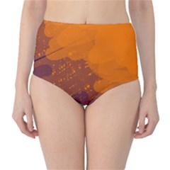 Orange and blue artistic pattern High-Waist Bikini Bottoms