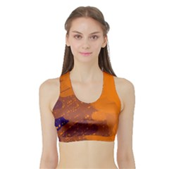 Orange and blue artistic pattern Sports Bra with Border