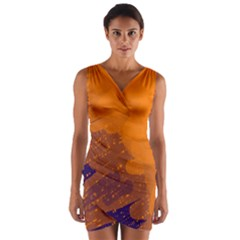 Orange and blue artistic pattern Wrap Front Bodycon Dress
