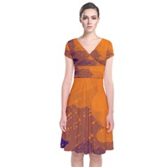 Orange and blue artistic pattern Short Sleeve Front Wrap Dress