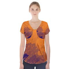 Orange and blue artistic pattern Short Sleeve Front Detail Top