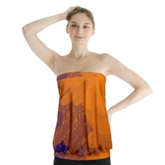 Orange and blue artistic pattern Strapless Top
