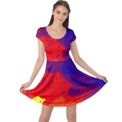 Colorful pattern Cap Sleeve Dresses