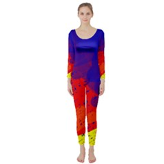 Colorful pattern Long Sleeve Catsuit