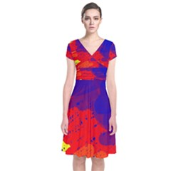 Colorful pattern Short Sleeve Front Wrap Dress