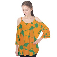 Orange Shapes    Flutter Sleeve Tee