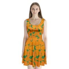 Orange Shapes     Split Back Mini Dress